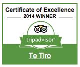 Te Tiro trip advisor 2014 award