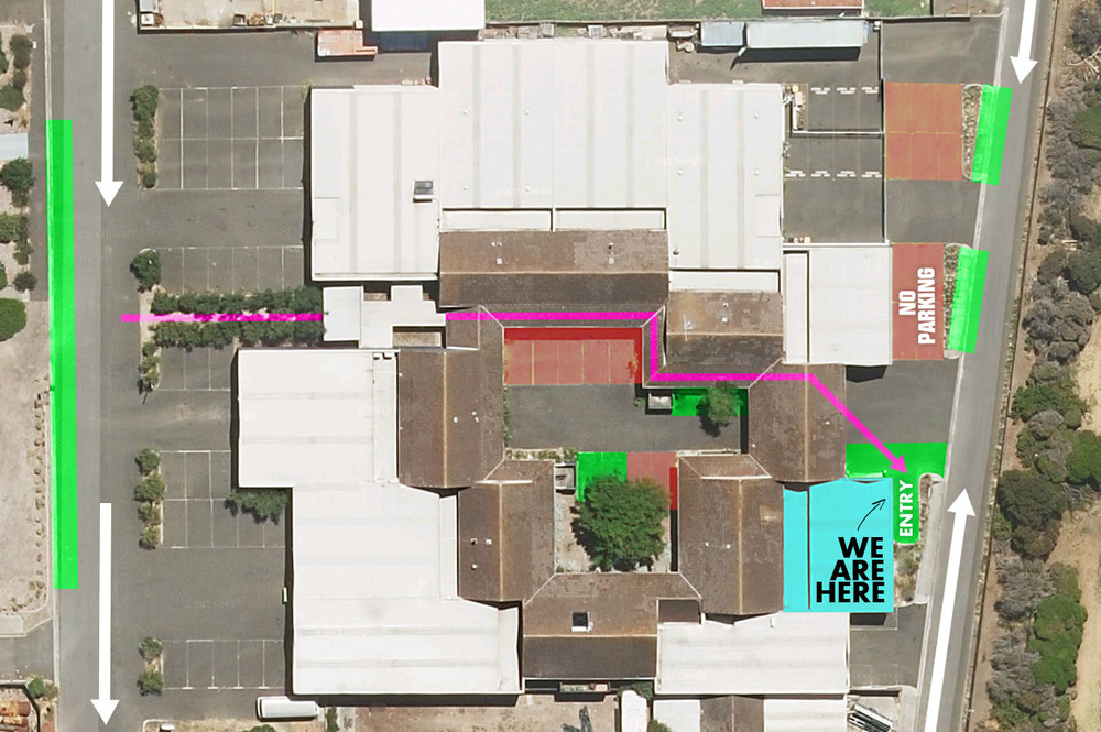 * Parking is available where shown in green. Please use the 4 outside of our entry/door.
