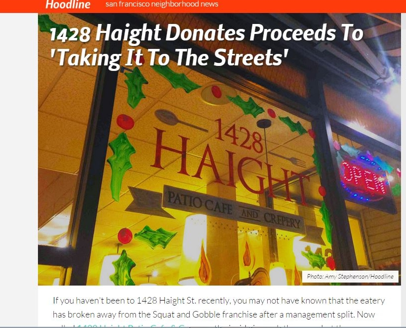 Hoodline: 1428 Haight Donates Proceeds to 'Taking It To The Streets'