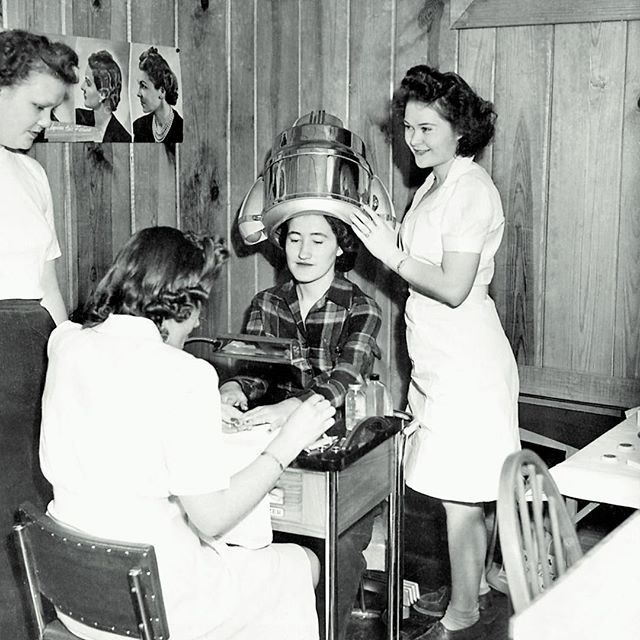 #tbt Grandma Bass' fabulous hair stylist days, 1950s or so. Today would have been her 96th birthday, and I'd imagine she'd be pissed about being that old. She was my person, my secret keeper, the reason I'm such a smart ass. The reason I've got such a big ass. Giver of good skin and the bad perms I insisted on in middle school. She supported everything I did. Read every magazine. Cut out every story. She's been gone for 10 years, but she's always with me. Especially when I have to flip you off in traffic. Because she encouraged that shit, too. ☺️ #throwbackthursday #happybirthday #imissyou #spoiledgrandkid