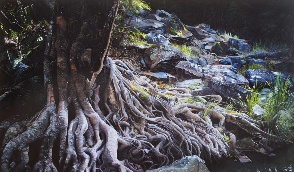 Ground Life  Oil on Canvas 140cm x 240cm  Contact artist for price  View Brisbane