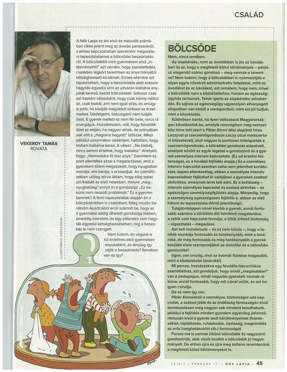 Vekerdy Tamás rovata - Nők Lapja - 2016/7 - február 17.