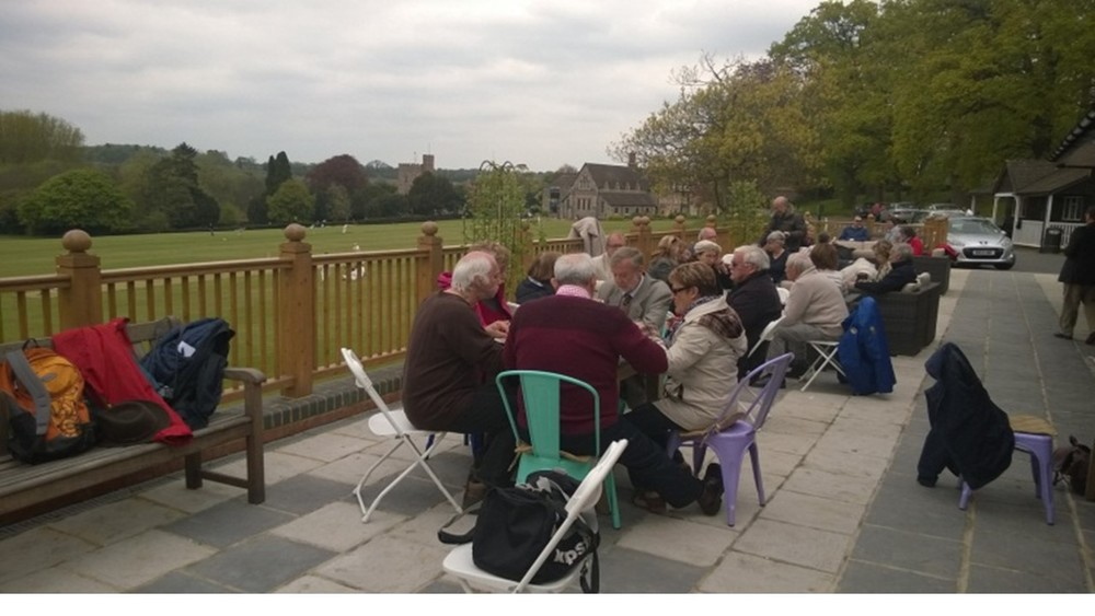 Lunch on the terrace of the Bradfield College pavilion