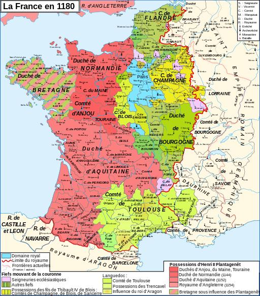La carte de France après le mariage d'Aliénor avec Henri II