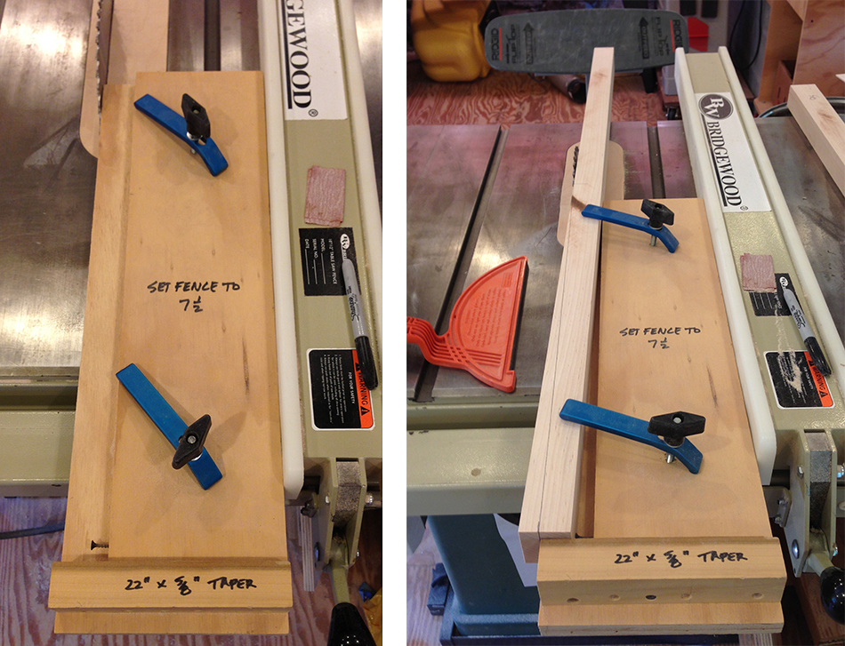 "A dedicated table saw taper jig that cuts 5/8"" x 22"" tapers on blanks that are 1 5/8"" wide."