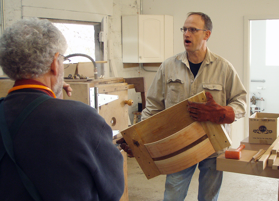 Brian talks about bending slats at a class in his shop in Asheville, NC
