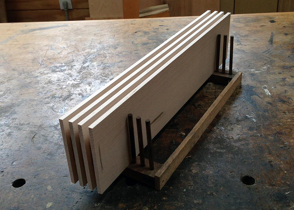 Slats in a rack ready to be put in the steam box.