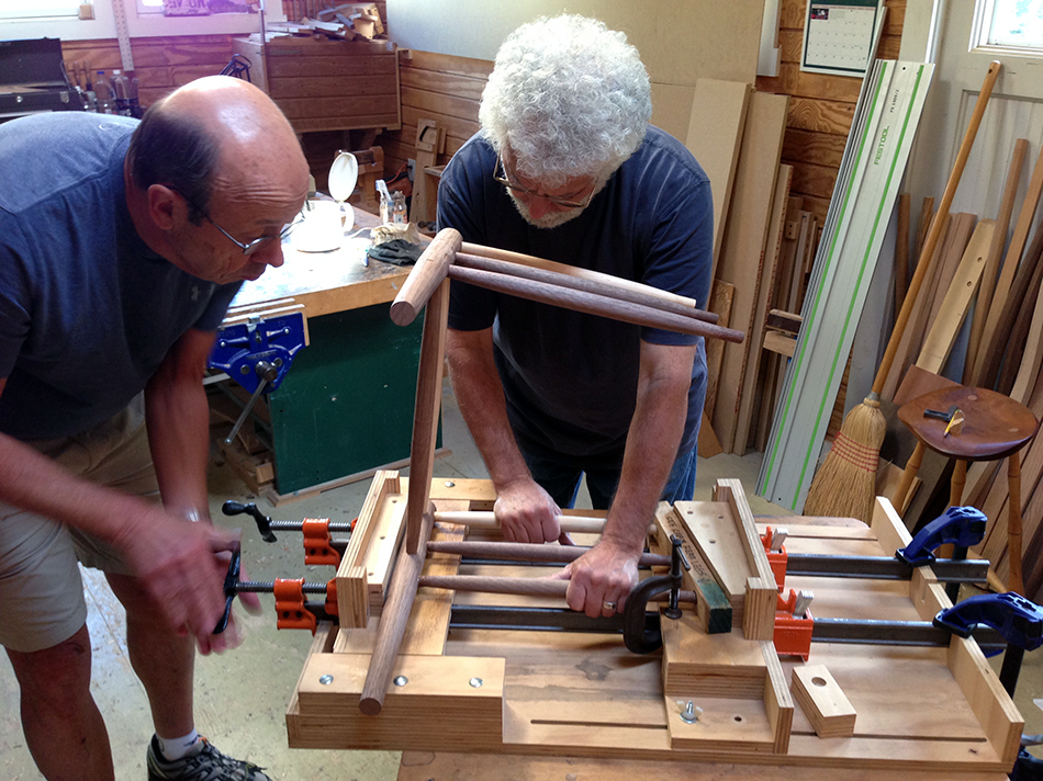 Side Chair Class, Day Five: Driving the rungs into the front panel