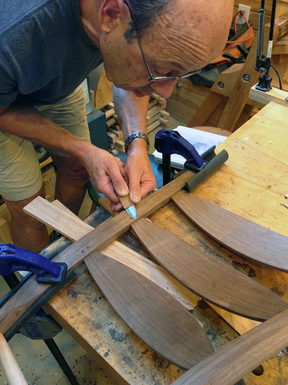 Side Chair Class, Day Five: David is carving pins using a custom made pin knife