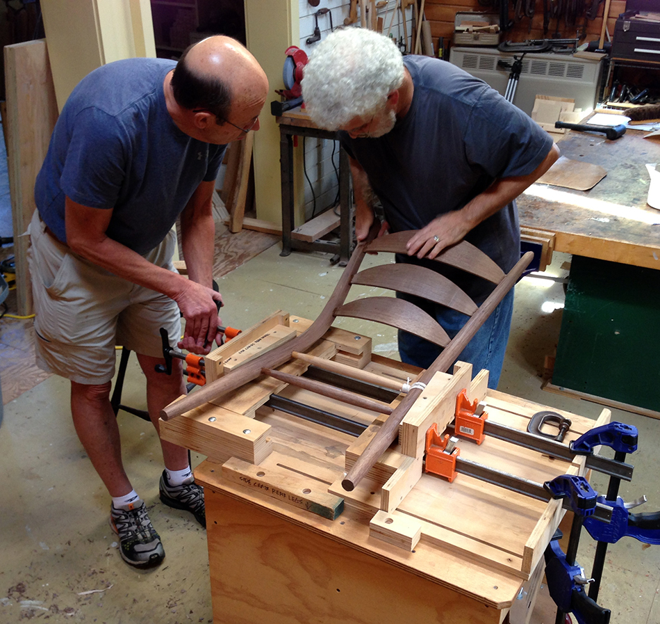 Side Chair Class, Day Five: Assembling the rear panel. That's me with the full head of hair!