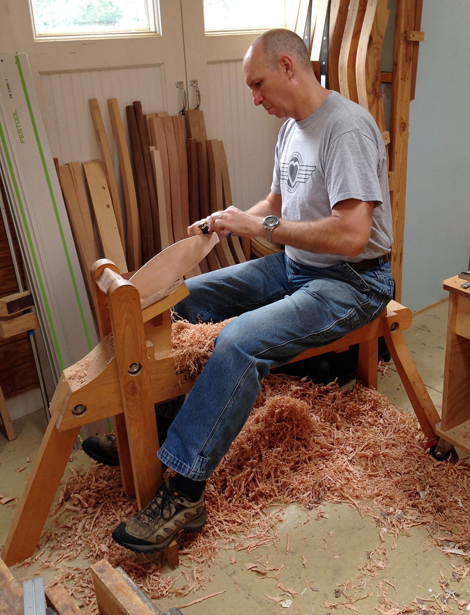 Side Chair Class, Day Four: Mark is doing the final shaping on the slats