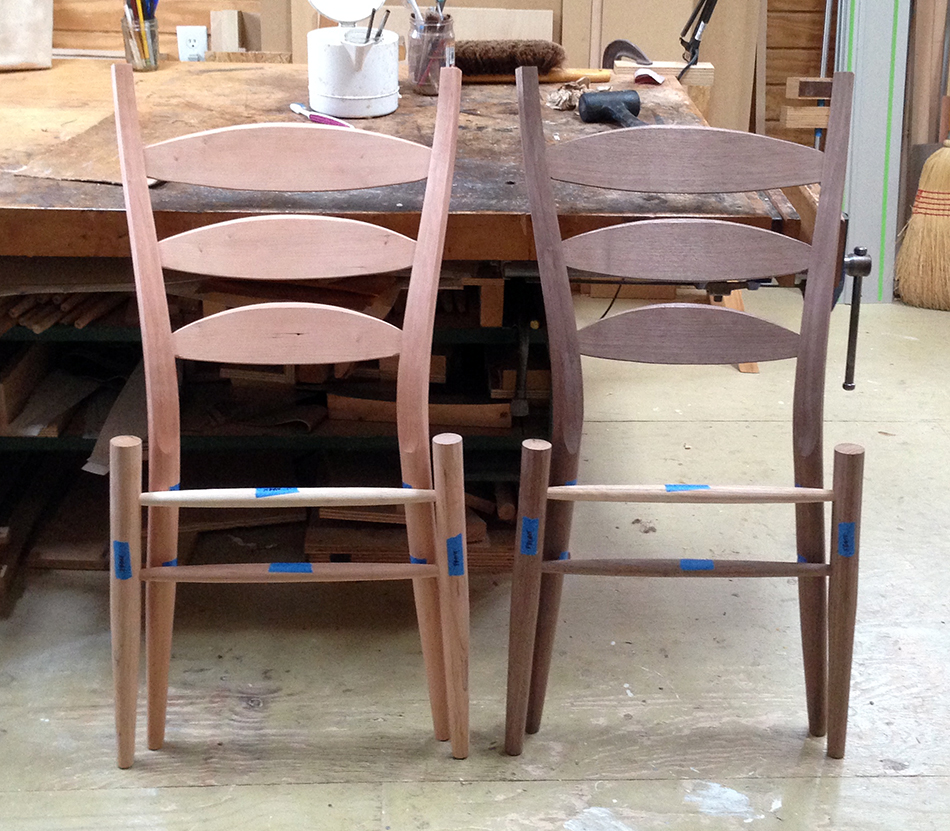 Side Chair Class, Day Four: End of day—the front panels are assembled and the slats and rear legs are shaped. All that's missing is the side and rear rungs
