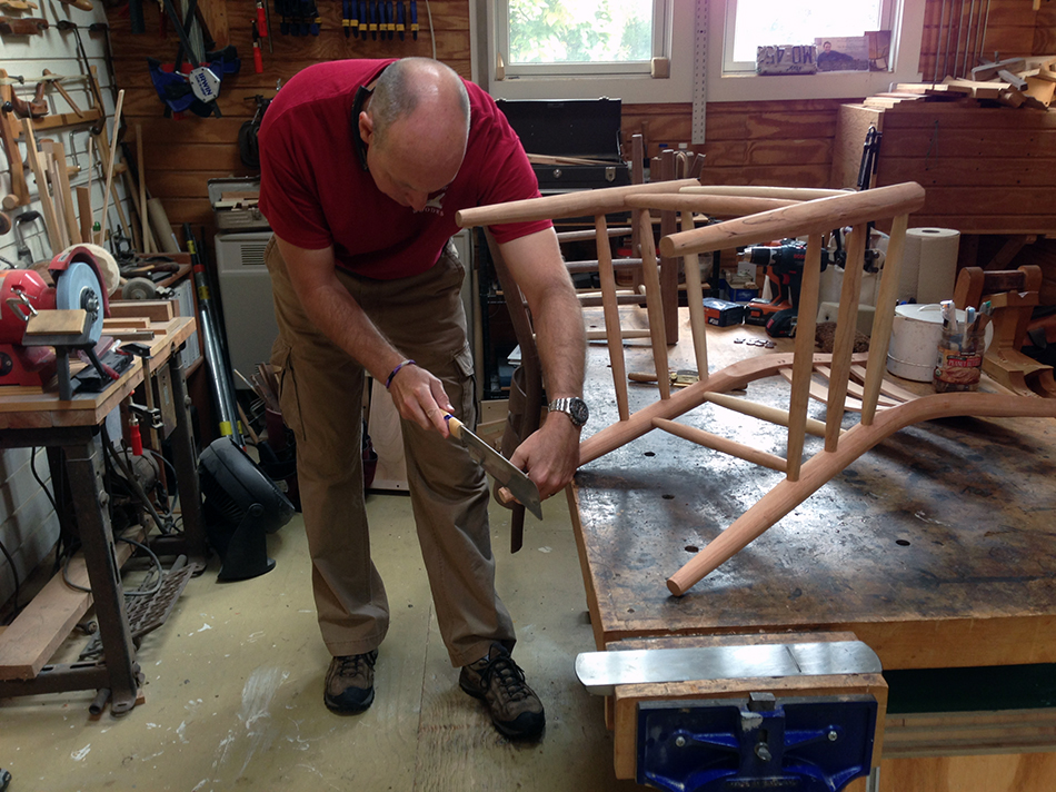 Side Chair Class, Day Six: Mark is trimming the rear legs prior to final leveling