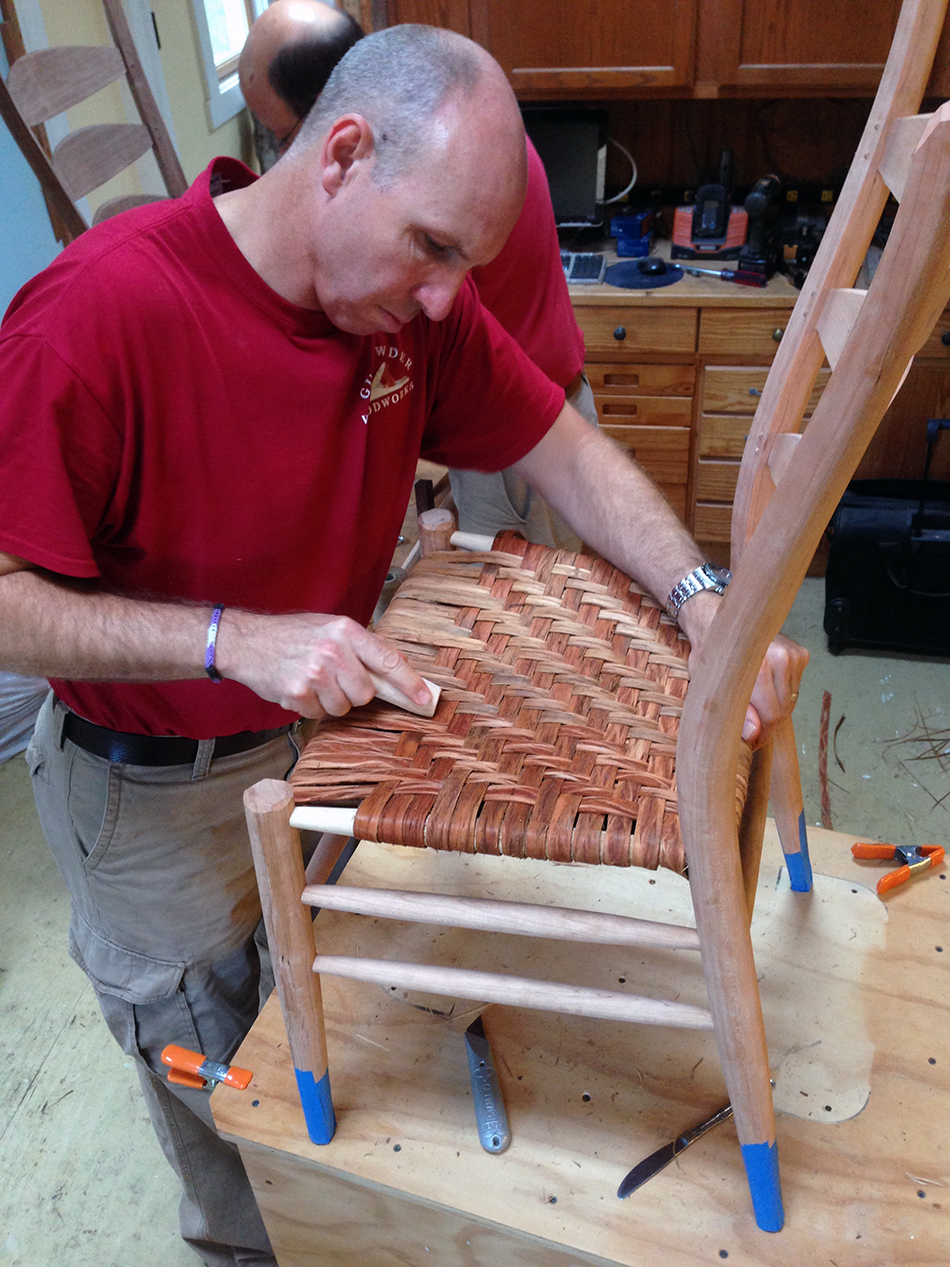 Side Chair Class, Day Six: Mark is weaving the top of the seat in a two pattern herringbone twill. The seat material is hickory bark