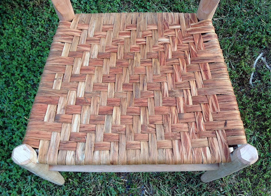Side Chair Class, Day Six: The finished seat. Each warp (bark running front-to-back) is tapered