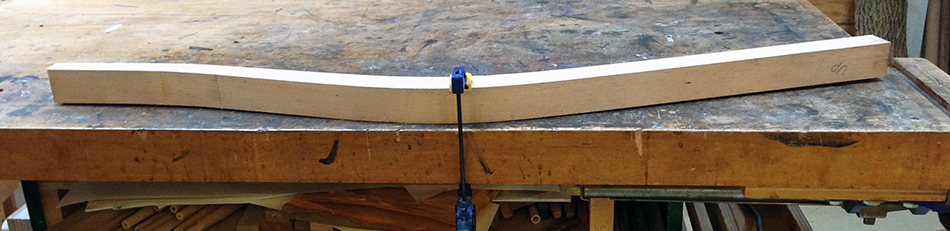 Evaluating flatness prior to jointing. This side of the leg touches the bench top in the center but not at the ends so it will be difficult to joint flat.