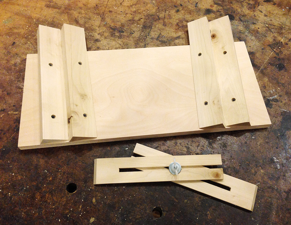 The completed holding jig and measuring jig