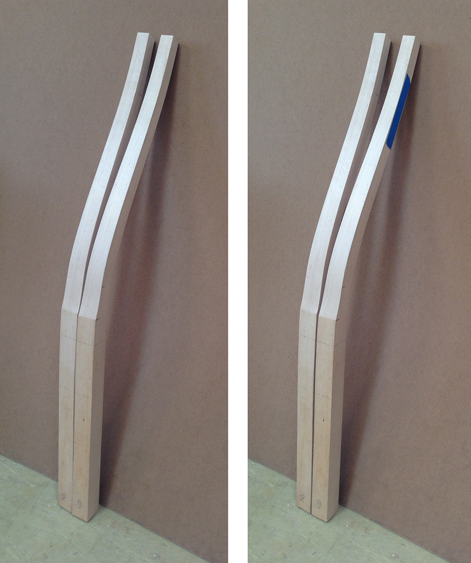 Label the outside of each leg with blue tape to avoid cutting the slat mortises on the wrong side of the leg