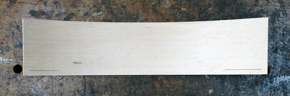 """Draw marks 3/8"""" from the bottom on both sides of the slat. This will be the bottom edge of the tenon at the shoulder"""