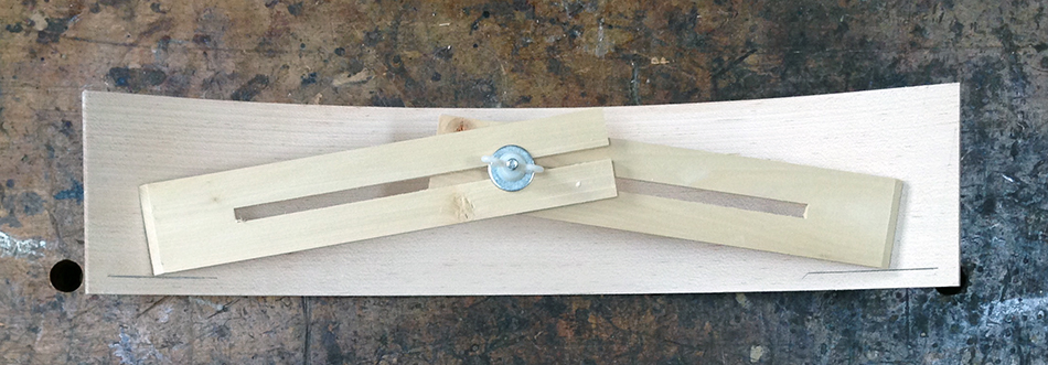 """Set the measuring jig on the 3/8"""" lines and strike a line at the end of each arm. These lines will represent the tenon shoulders"""