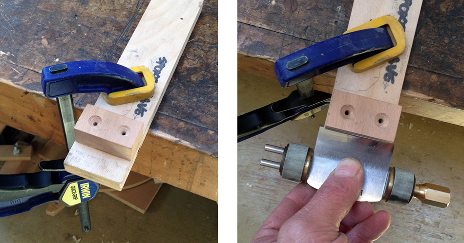 A simple set-up block for setting the bevel angle of a spokeshave blade to 35° when using the Kell Honing Guide