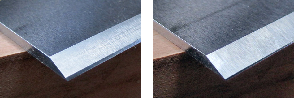 Spokeshave blades — Flat 25° primary bevel with 35° micro-bevel (left). Hollow ground 25° primary bevel with 35° micro-bevel (right)