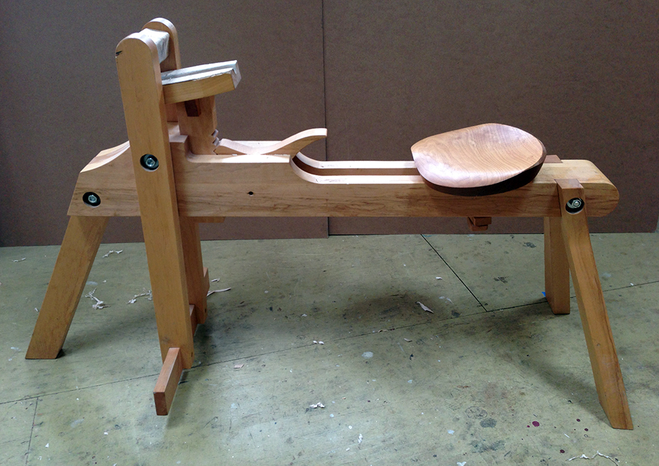 A Boggs style shavehorse with reduced angle lower jaw and a custom seat