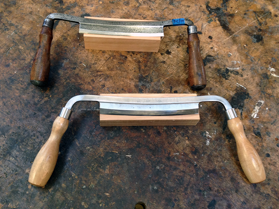 Two drawknives — an antique Witherby (top) and a contemporary Lie-Nielsen (bottom)