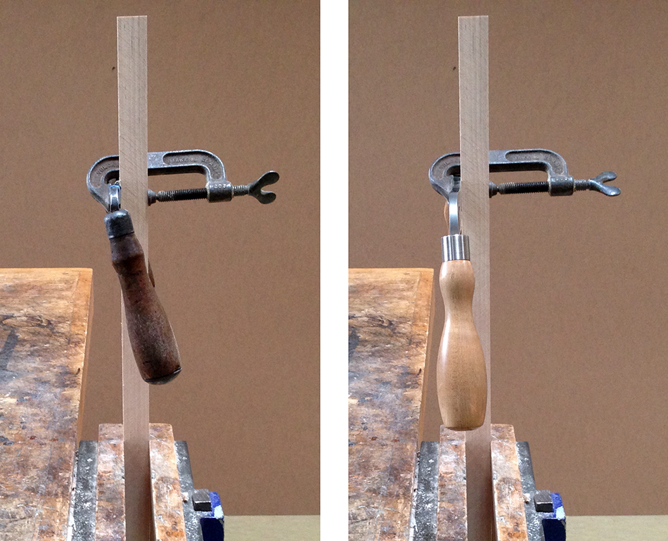 The drawknife on the left, with the handles canted toward the back, works best with the bevel up. The drawknife on the right, with the handles parallel to the back, works best with the bevel down.