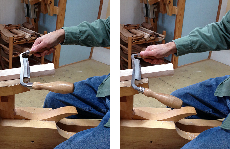 With this knife my wrist is in an uncomfortable with the bevel up (left) and a comfortable position with the bevel down (right)