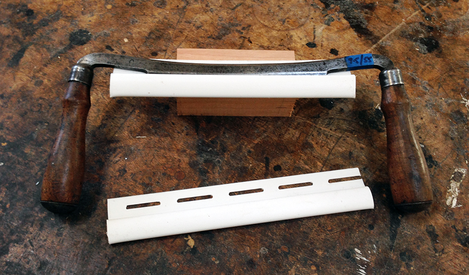 Vinyl Finish Trim makes an excellent and inexpensive blade guard for drawknives