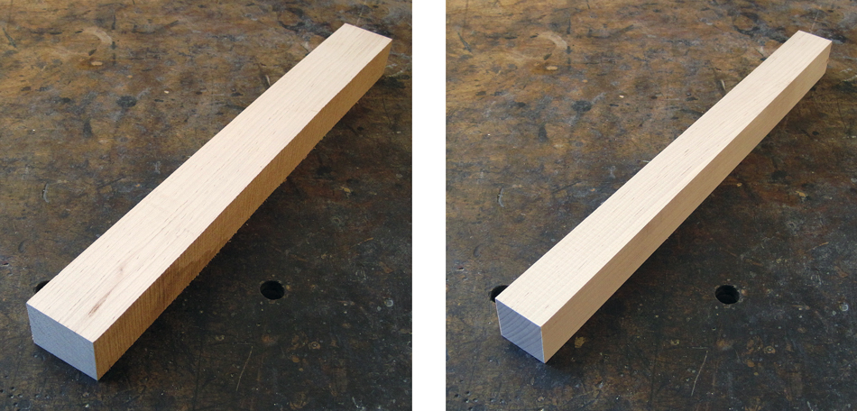 Shaping the Front Legs: A rough blank on the left. A finish milled blank on the right