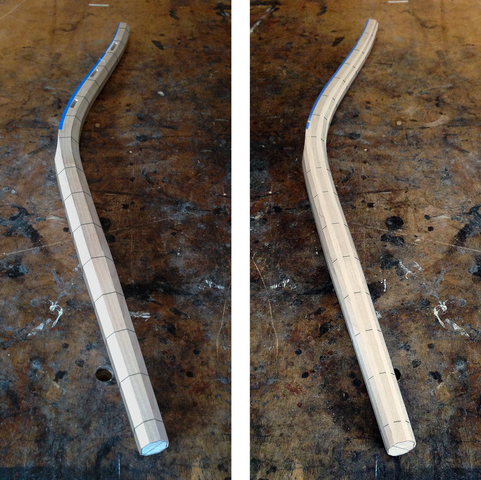 Shaping the rear legs: On the left, a rear leg with reference lines around the circumference. On the right, a rear leg shaped to 16 sides.