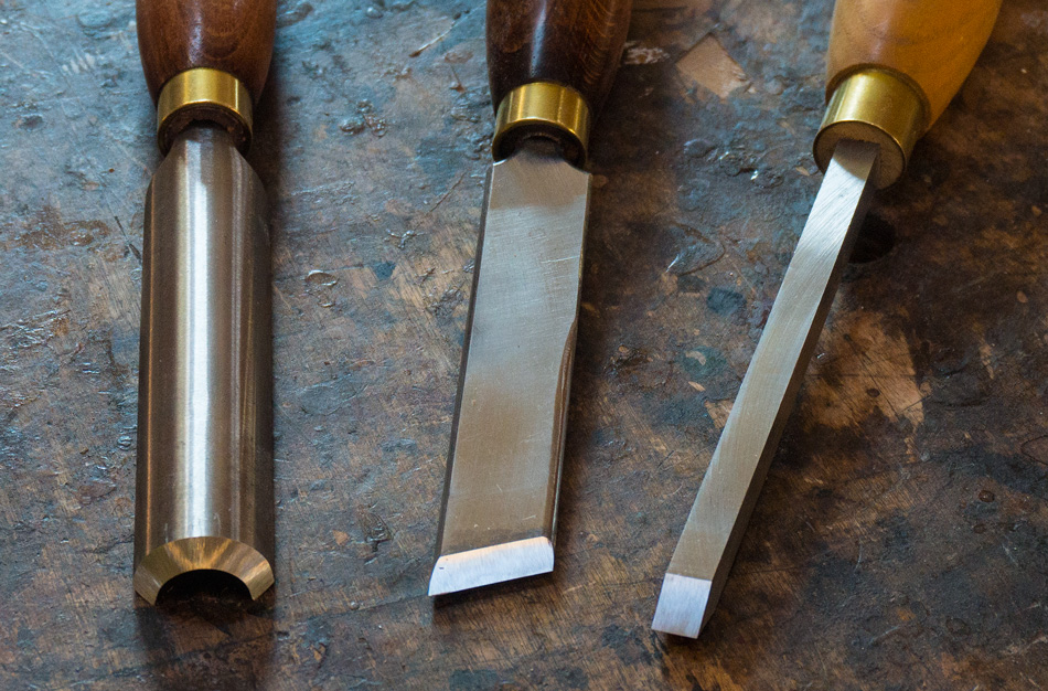 These three turning tools are hollow ground for easy hand sharpening and honing