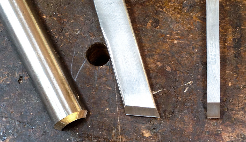 The micro-bevel on these three turning tools has been freehand honed