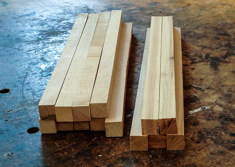 Rung blanks have been milled to 1-1/8″ square