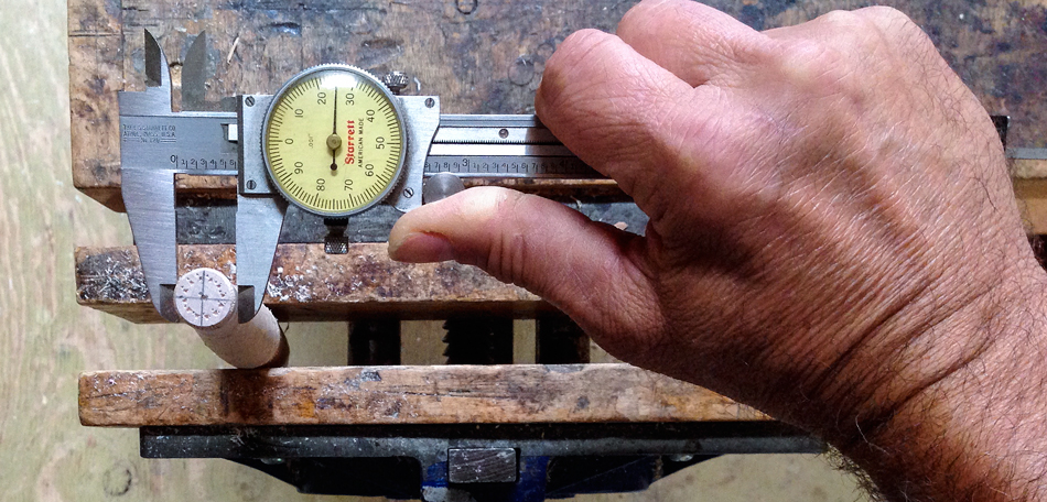This rung tenon has been turned precisely to 625 thousandths of an inch