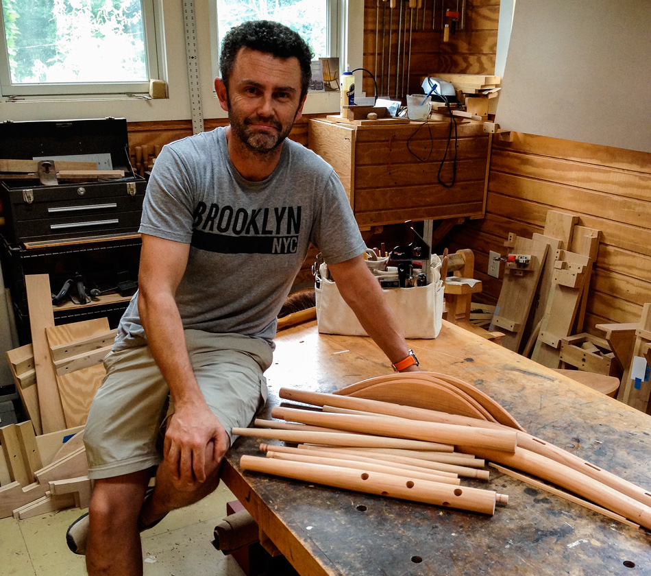Glen Rundell with all the finished parts for his 3-slat post & rung side chair