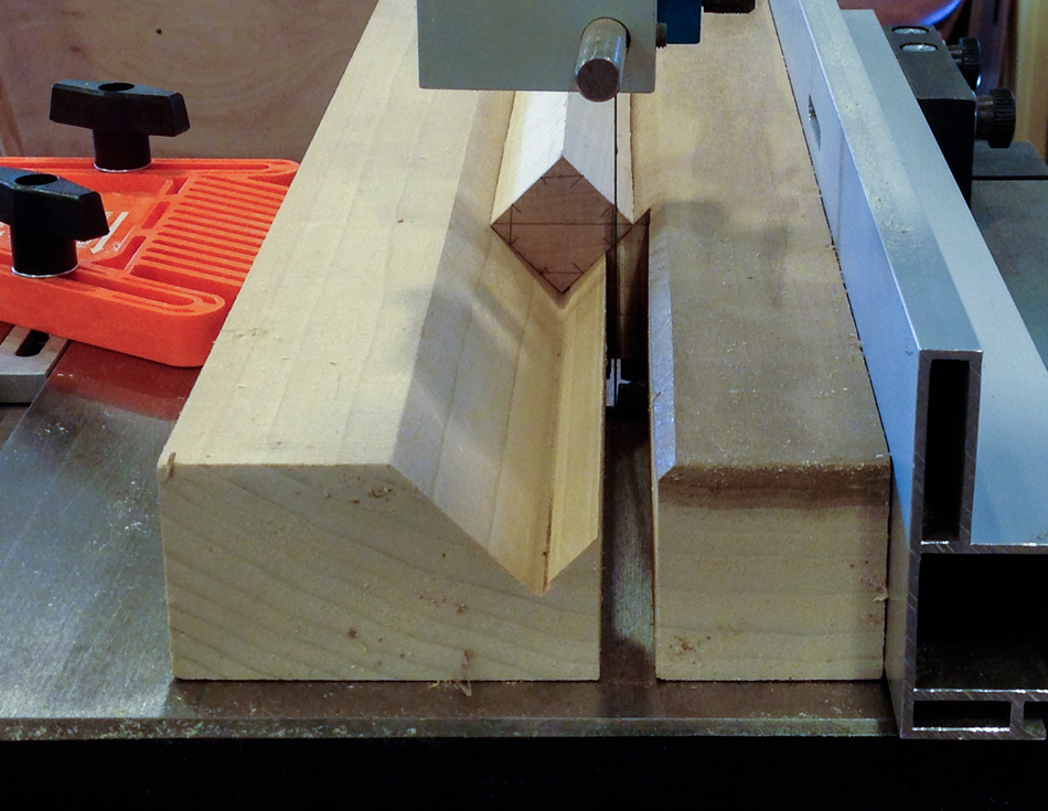 Align the edge of the octagon to the blade on the band saw