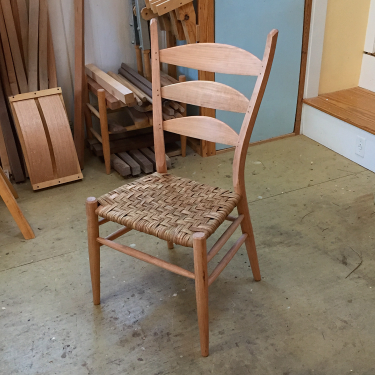 A student built 3-slat post & rung side chair in white oak