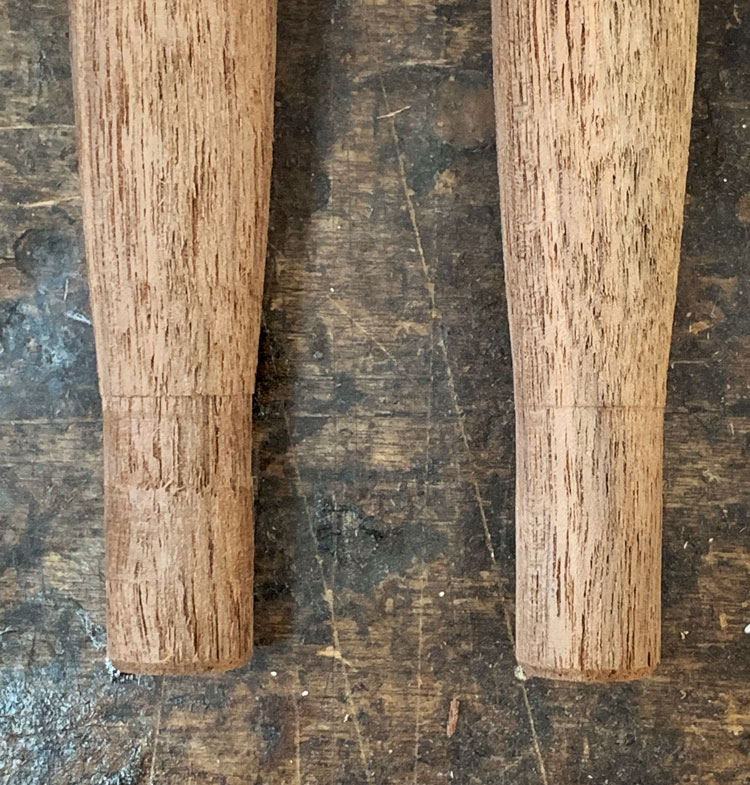Rough turned tenon on the left. Finished tenon on the right.