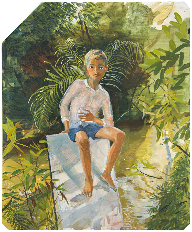 Boy sitting on mirror  2017  Oil on x-ray film backing  Framed: 53 x 45cm each (irregular); unique, 43 x 35.3cm (without frame)