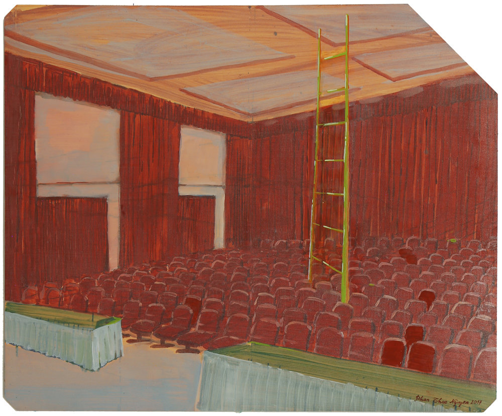 The Conference Room  2017  Oil on x-ray film backing  Framed: 53 x 45cm each (irregular); unique, 43 x 35.3cm (without frame)