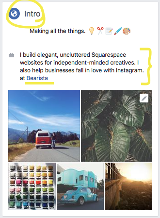 Update intro, about & featured details on left hand panel of Facebook page.