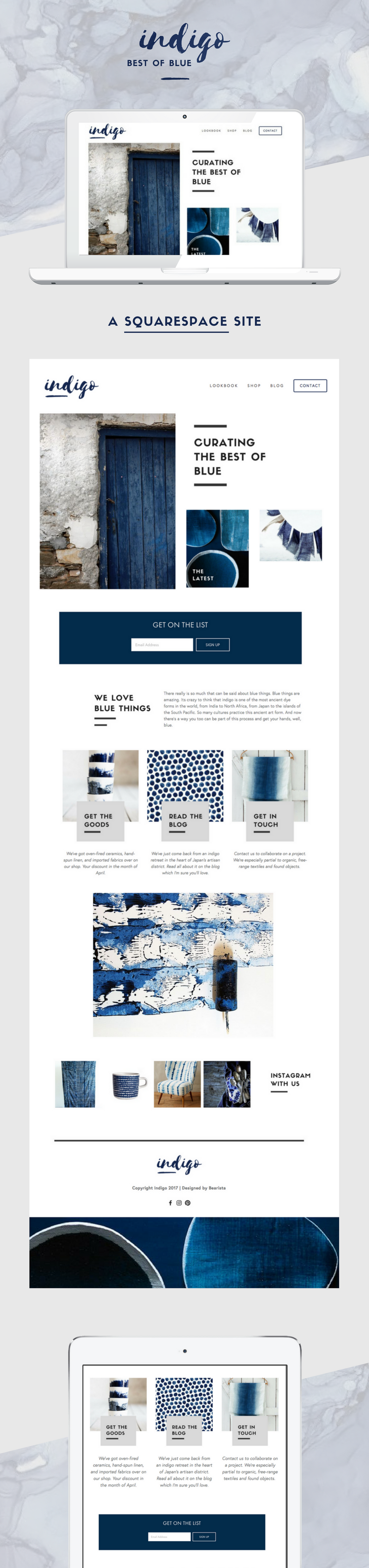 Long web graphic for 'Indigo' web design concept.