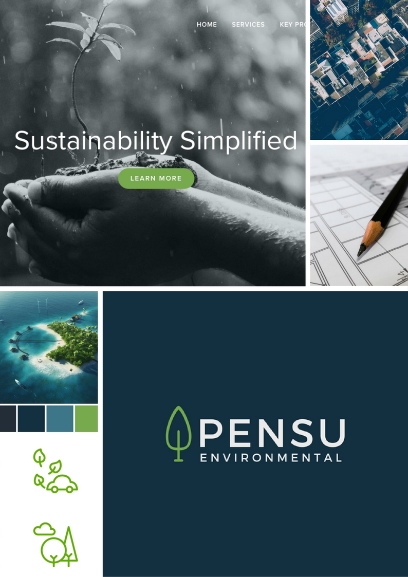 PENSU Environmental moodboard - dark blues and bright greens.
