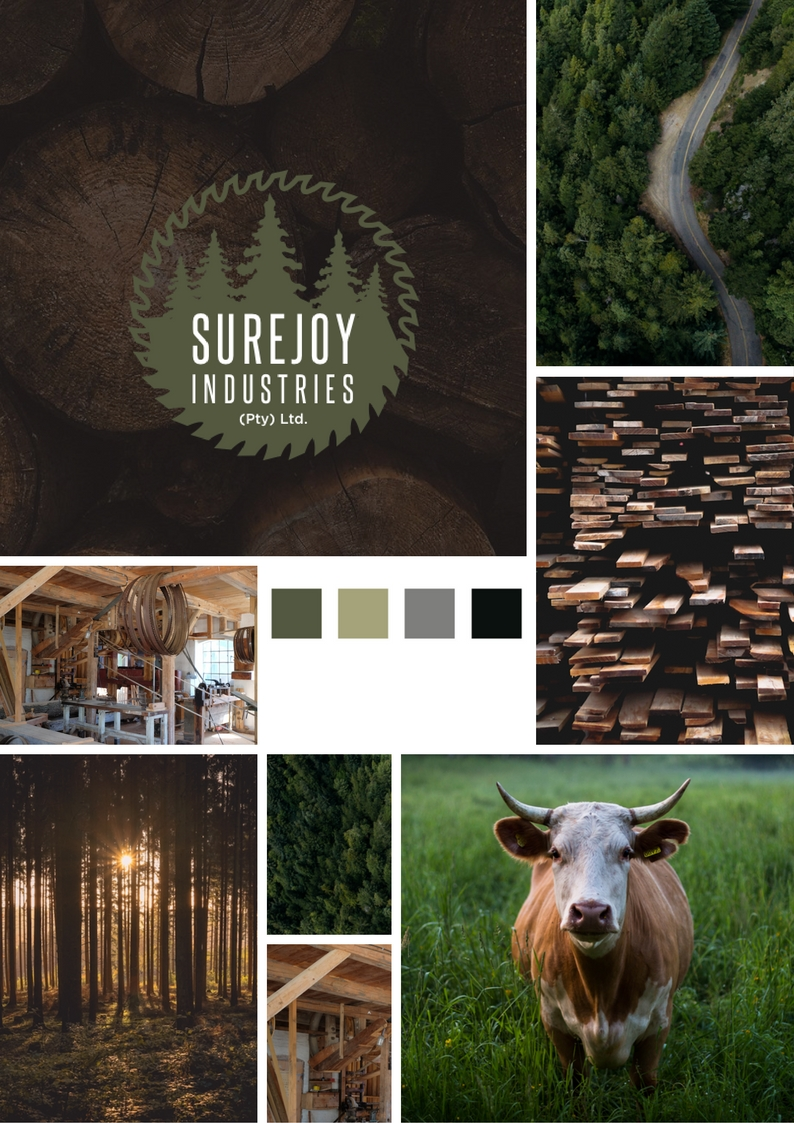 Surejoy Industries moodboard - earthy tones, farm land, and loads of wood.