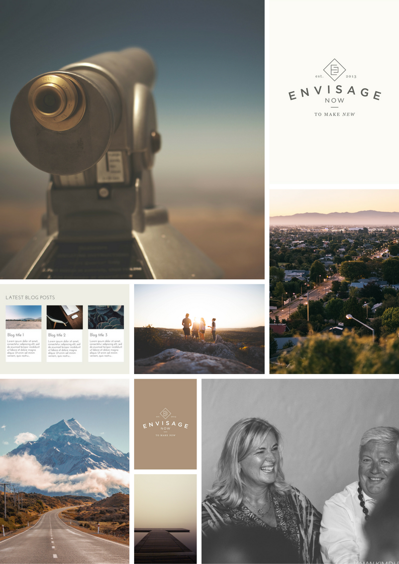 Envisage Now moodboard - vintage tones, spectacular New Zealand landscapes, black & white images.