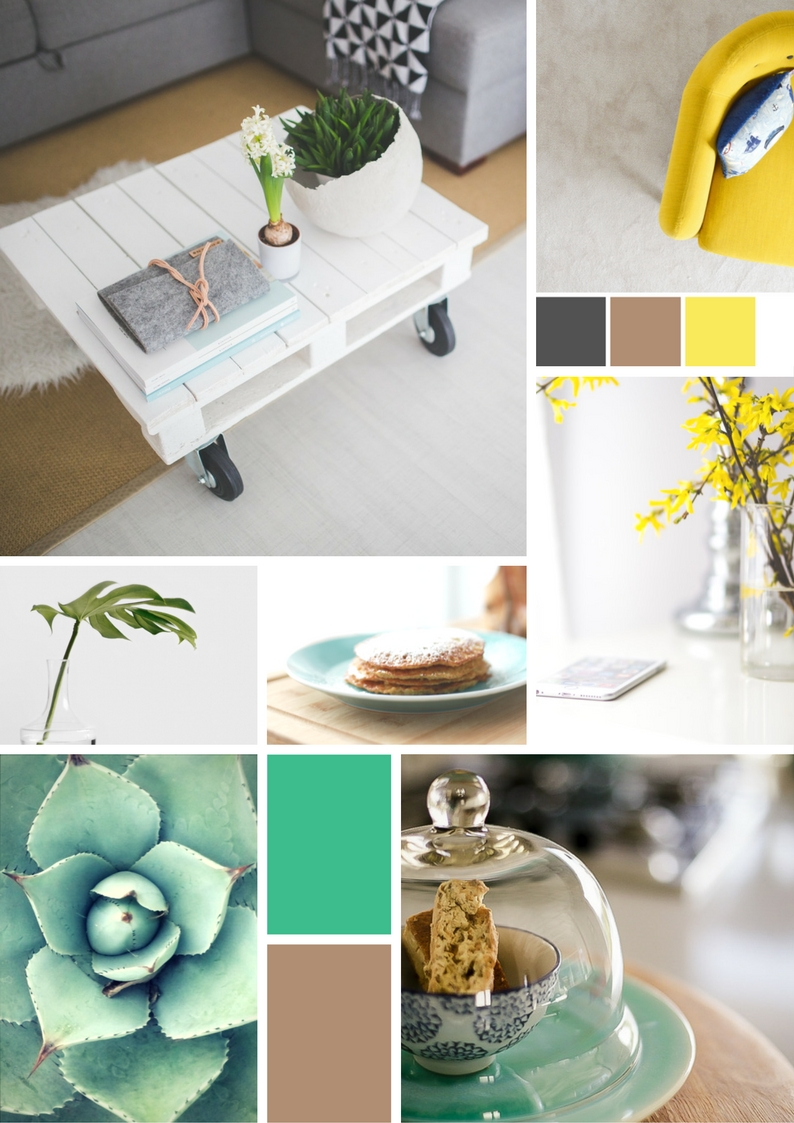 Interiors Etc Moodboard - light interiors, bright pops of yellow and duck egg tones.