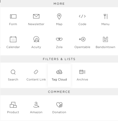 An example of some of Squarespace's built in 'plugins'.
